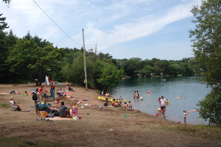 Chocolate Lake Beach is a popular spot for swimmers and boaters in Halifax.