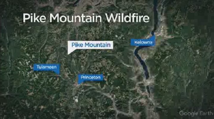 The Pike Mountain fire northwest of Princeton has grown from .5 hectare on Monday to 16.4 hectares on Tuesday.