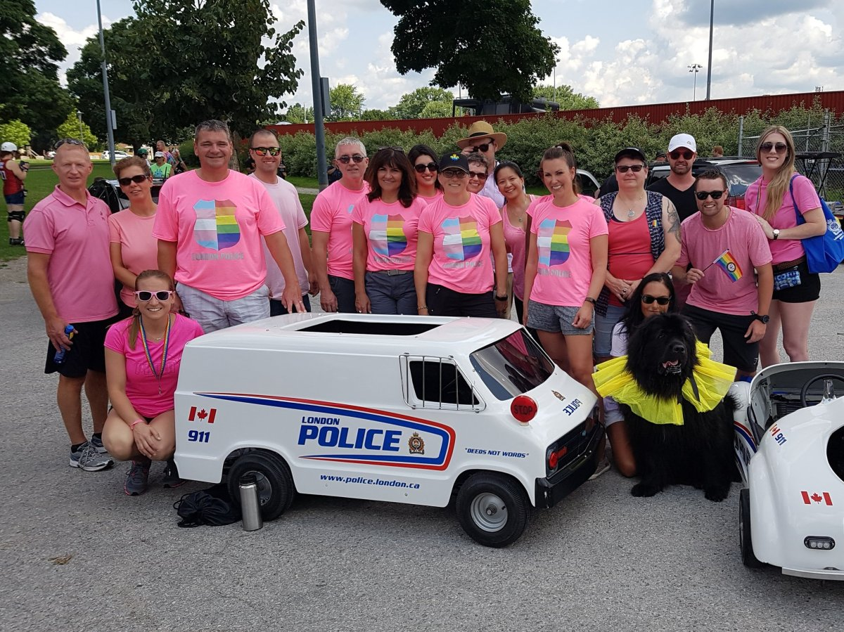 The pink shirts worn by London police during the 24th annual London Pride Parade.