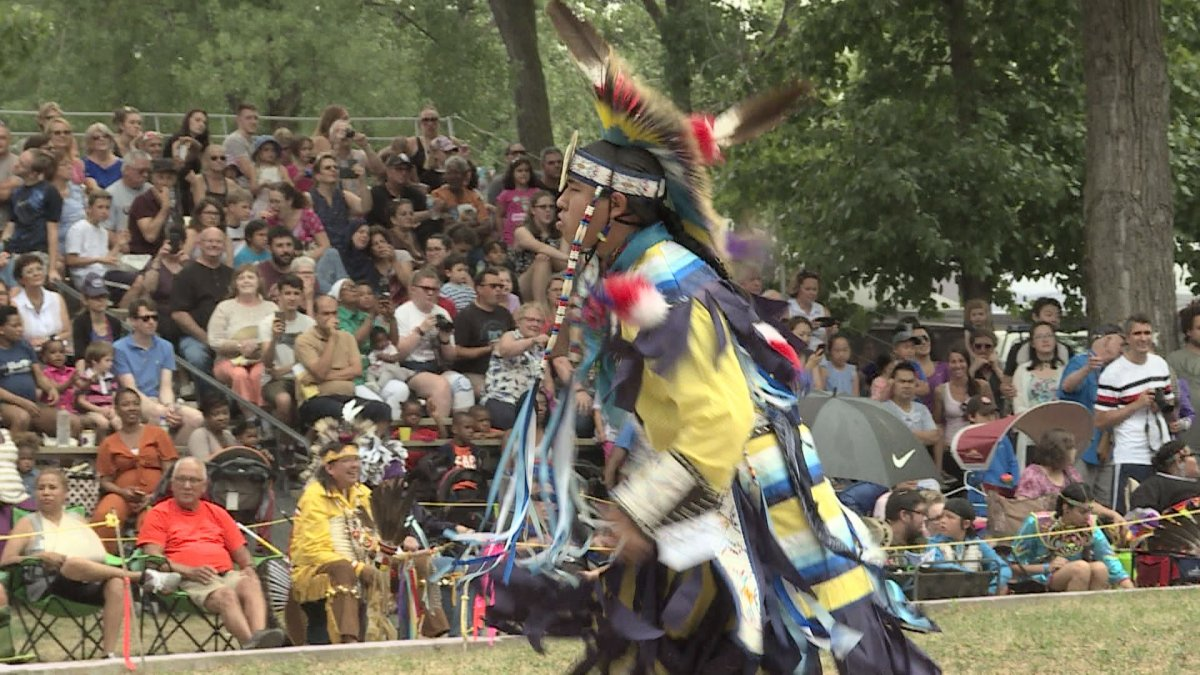 A dancer performs during the annual 28th annual Echoes of a Proud Nation Powwow in Kahnawake.