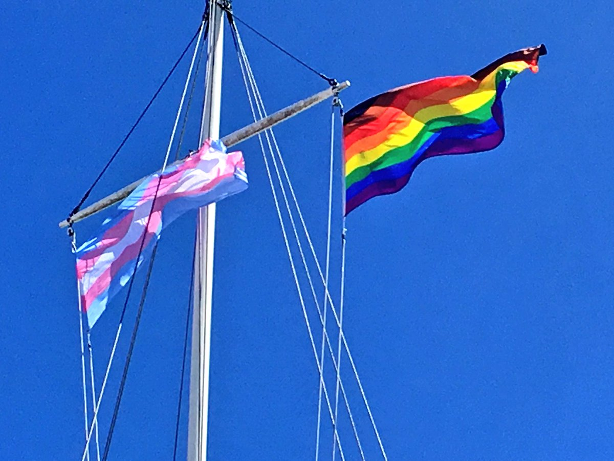 The transgender pride flag and the pride flag pictured in Halifax on July 12, 2018.
