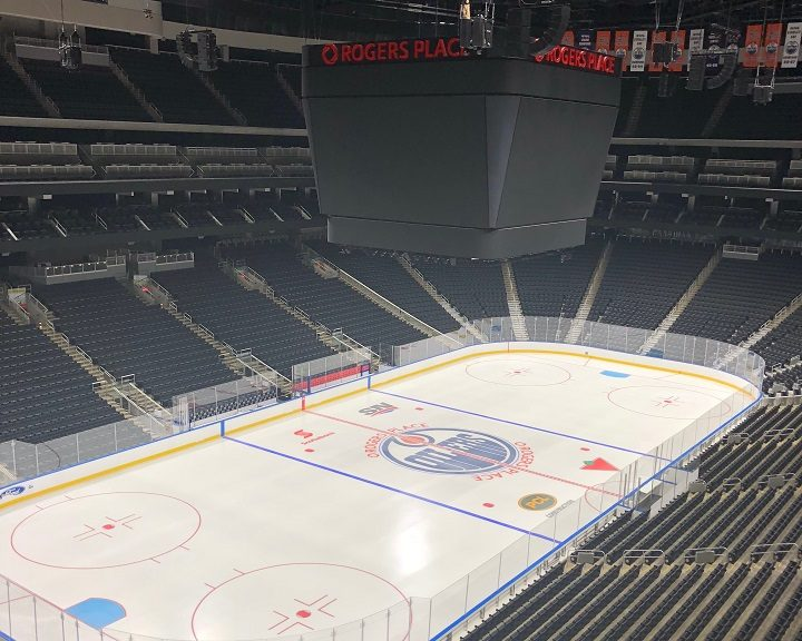 The ice at Rogers Place on July 29, 2018.