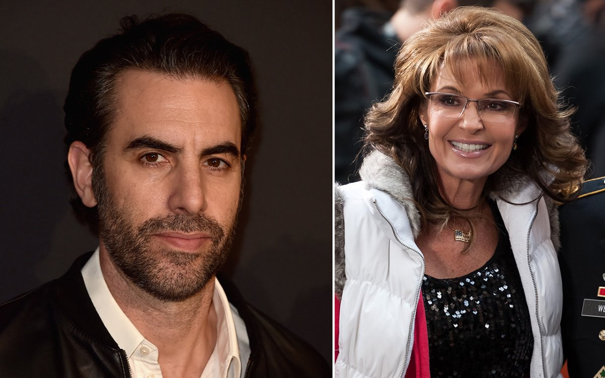(L-R): Actor Sacha Baron Cohen and former Alaska governor Sarah Palin.