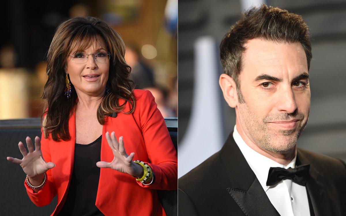 (L-R): Sarah Palin and Sacha Baron Cohen.