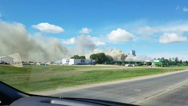 A fire has destroyed the Cervus Equipment John Deere in Rosthern, Sask.