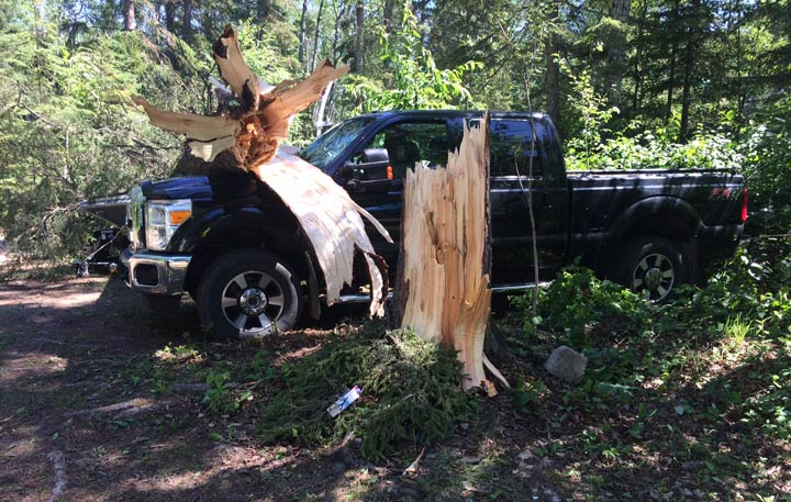 A photo of storm damage at Murray Point campground north of Prince Albert, Sask.