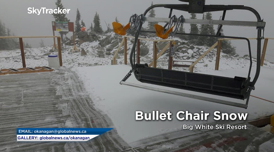 """The Bullet Chair at Big White Ski Resort had to be closed Monday morning due to a """"fresh layer of Okanagan Champagne Powder up top,"""" according to the resort."""