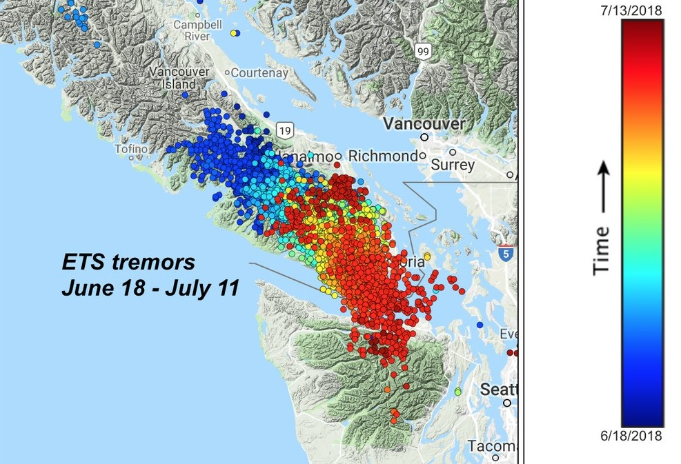A graphic displays ETS tremor events over the last month.