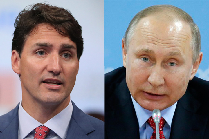 File images of Canadian Prime Minister Justin Trudeau and Russian leader Vladimir Putin.