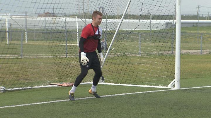 Winnipeg's Tyson Farago practices with WSA Winnipeg of the PDL.