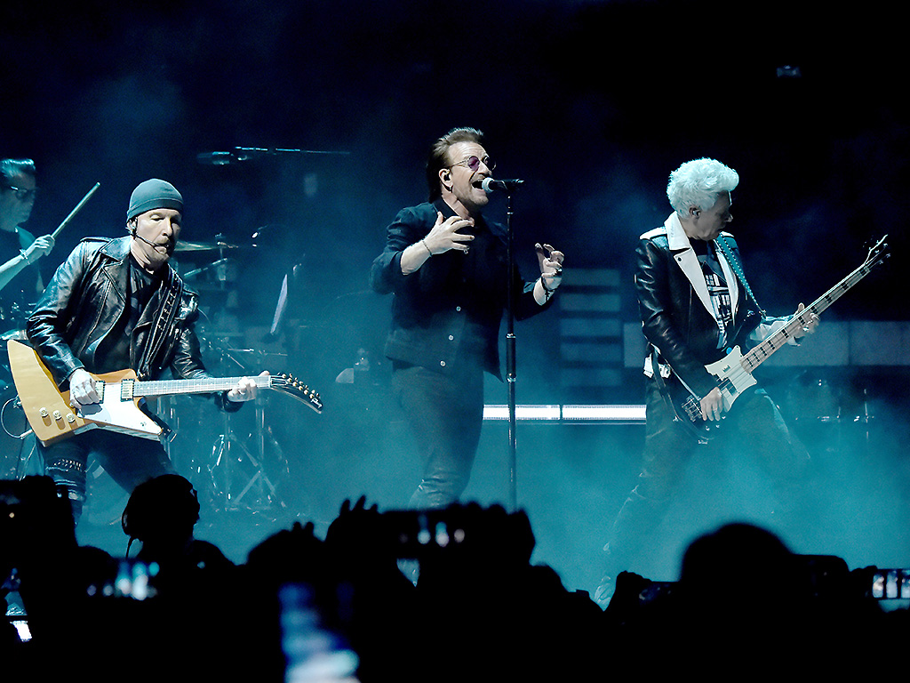 Larry Mullen Jr., The Edge, Bono and Adam Clayton of U2 perform on stage during at Madison Square Garden on July 1, 2018 in New York City.