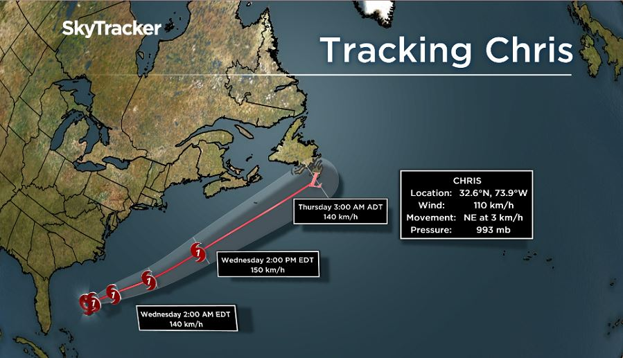 Tropical Storm Chris is expected to track Friday near or over the Avalon Peninsula.