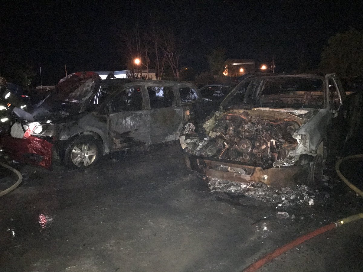 A fire that broke out early Wednesday morning at Adesa Auction yard in Vars, located southeast of downtown Ottawa, damaged 12 vehicles in total.