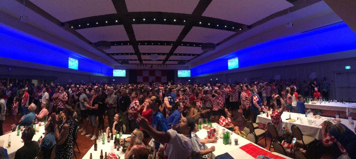 Hundreds of tense fans pack the Croatian Cultural Centre in Vancouver to watch their team face England in the FIFA World Cup semifinal.
