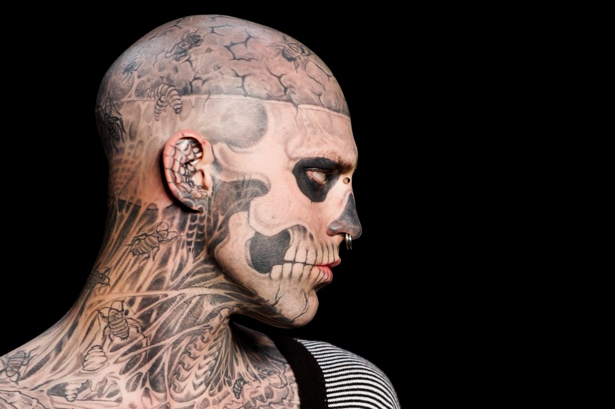 Canadian model Rick Genest, aka Zombie Boy, wears a creation by Auslander during the Fashion Rio Summer 2012 collection in Rio de Janeiro, Brazil, Saturday, June 4, 2011.