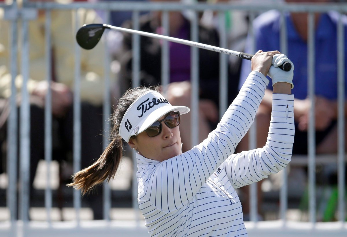Mariajo Uribe tees off on the first hole during the final round of a LPGA golf tournament on Sunday, March 18, 2018, in Phoenix.