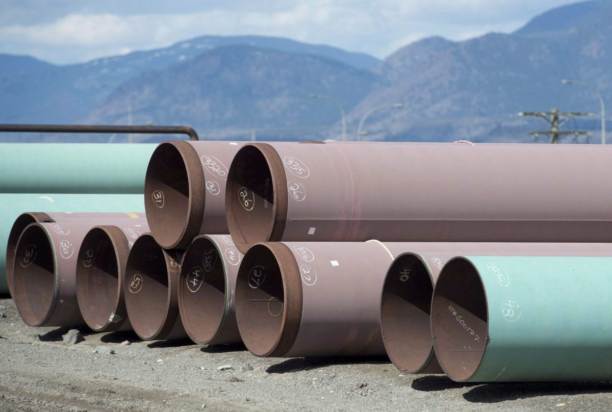 Pipes are seen at the pipe yard at the Transmountain facility in Kamloops, B.C., Monday, March 27, 2017.