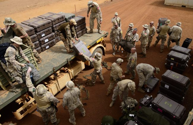 FILE - Canadian troops arrive to a UN base in Gao, Mali, June 25, 2018.