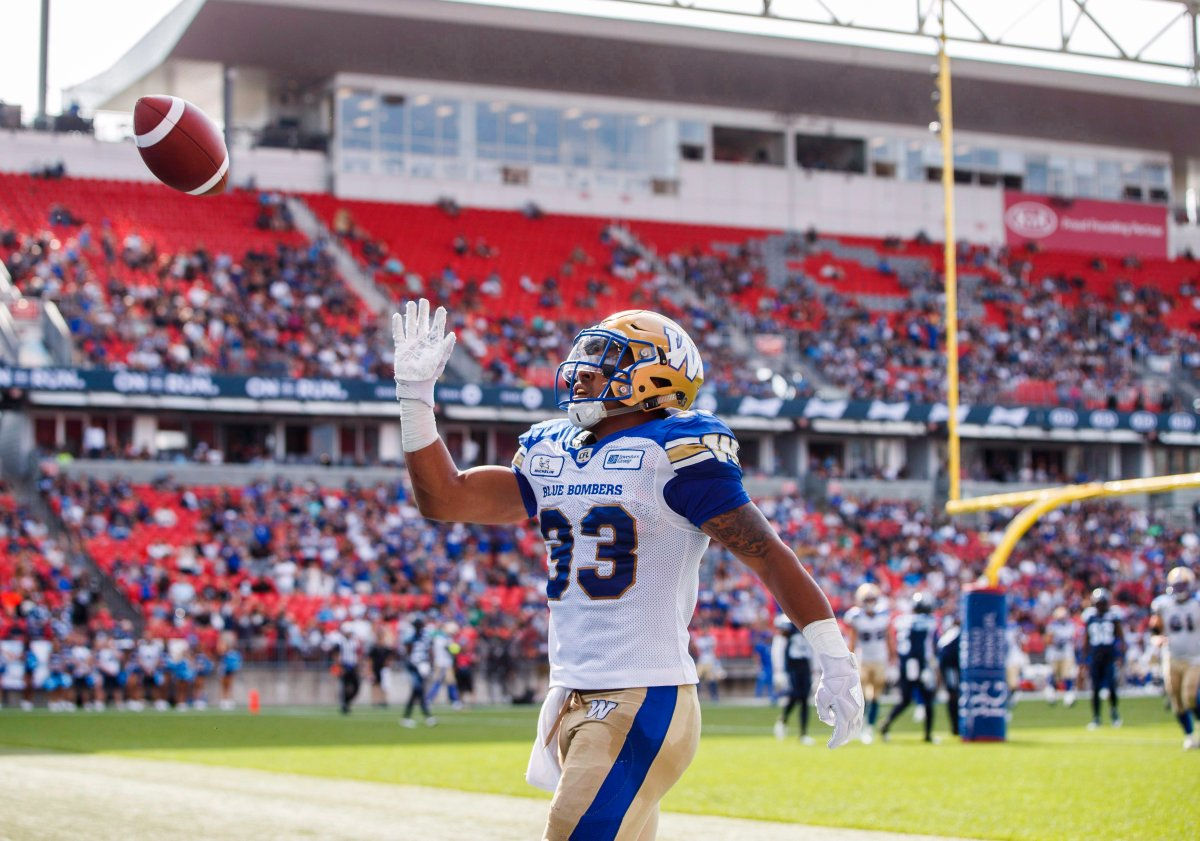 Winnipeg Blue Bombers' Andrew Harris celebrates his touchdown during first half CFL football action against the Toronto Argonauts, in Toronto on Saturday, July 21, 2018.
