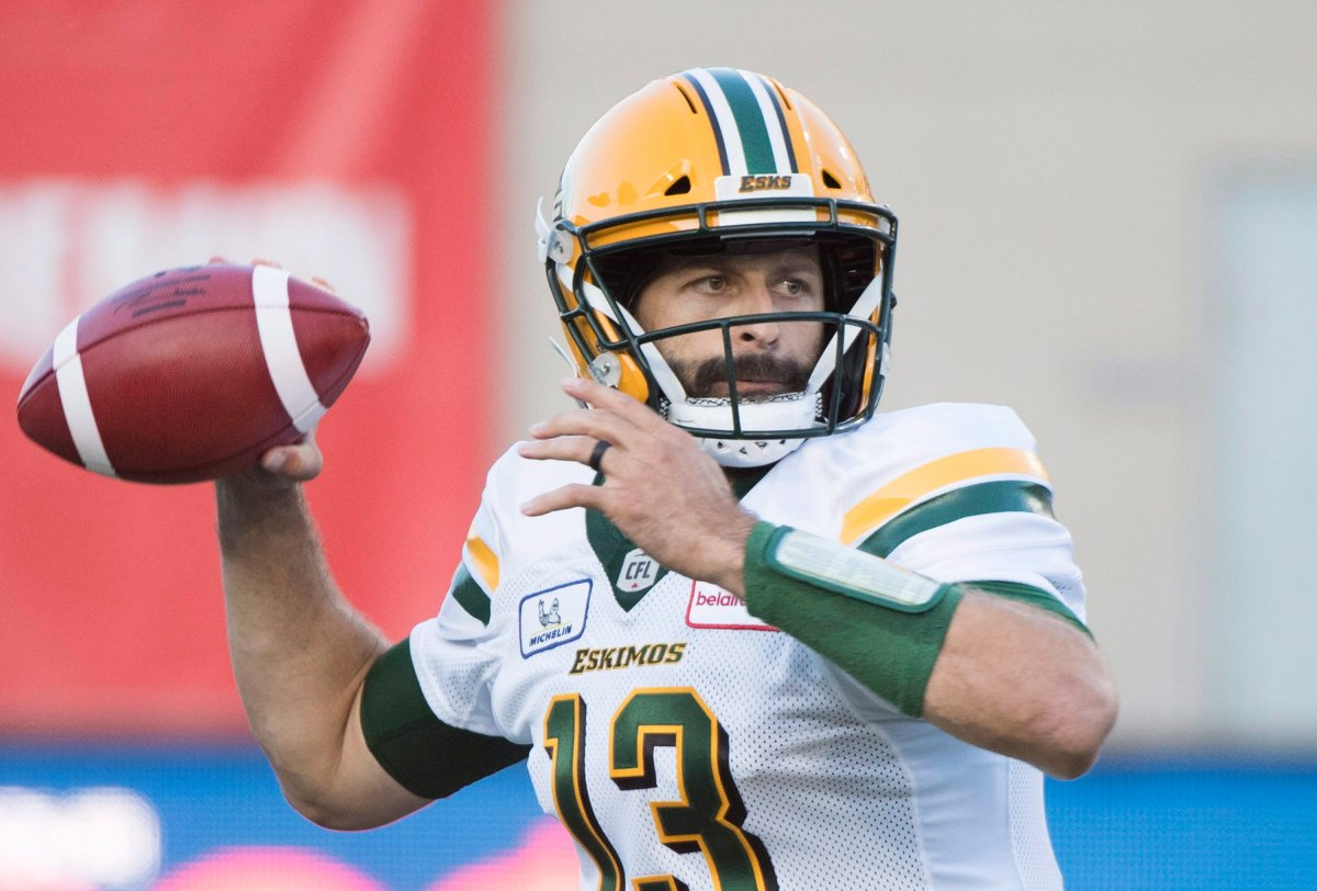 Edmonton Eskimos quarterback Mike Reilly throws a pass during first half CFL football action against the Montreal Alouettes in Montreal, Thursday, July 26, 2018.