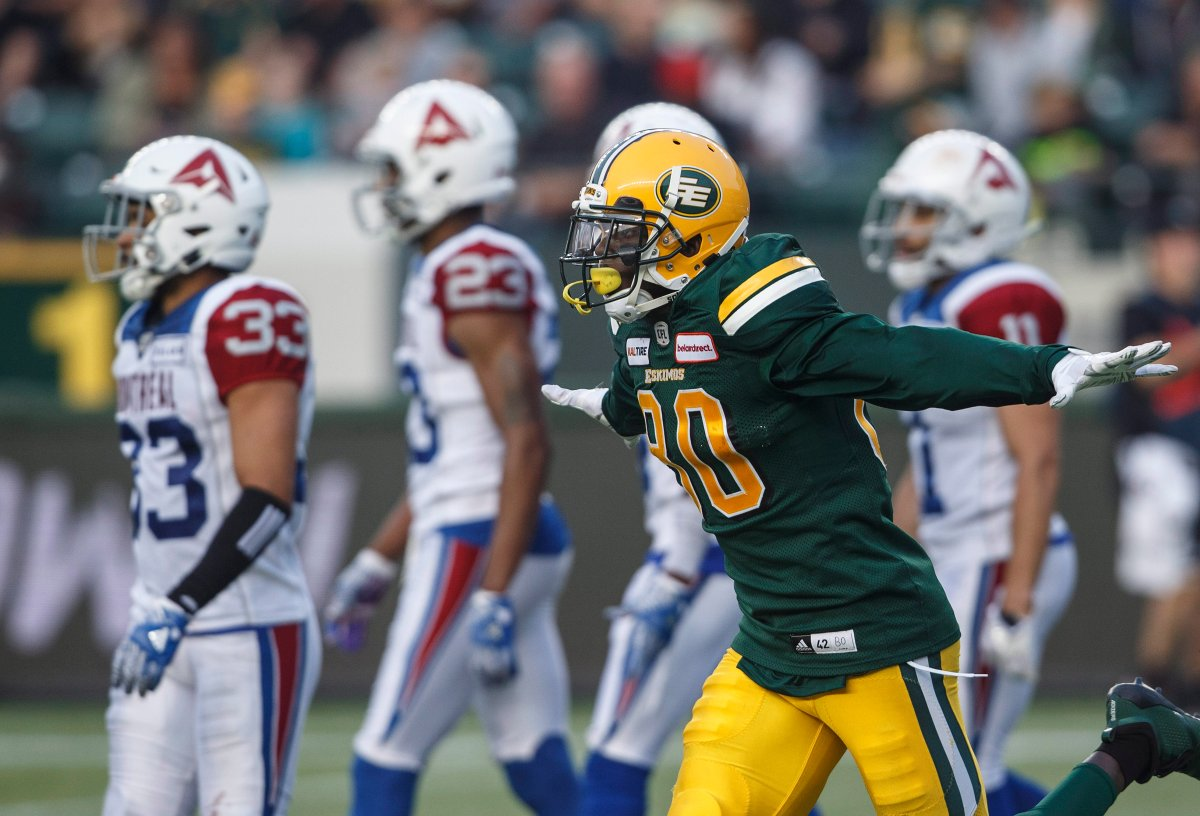 Edmonton Eskimos' Bryant Mitchell (80) celebrates a touchdown against the Montreal Alouettes during first half CFL action in Edmonton, Alta., on Saturday August 18, 2018. THE CANADIAN PRESS/Jason Franson.