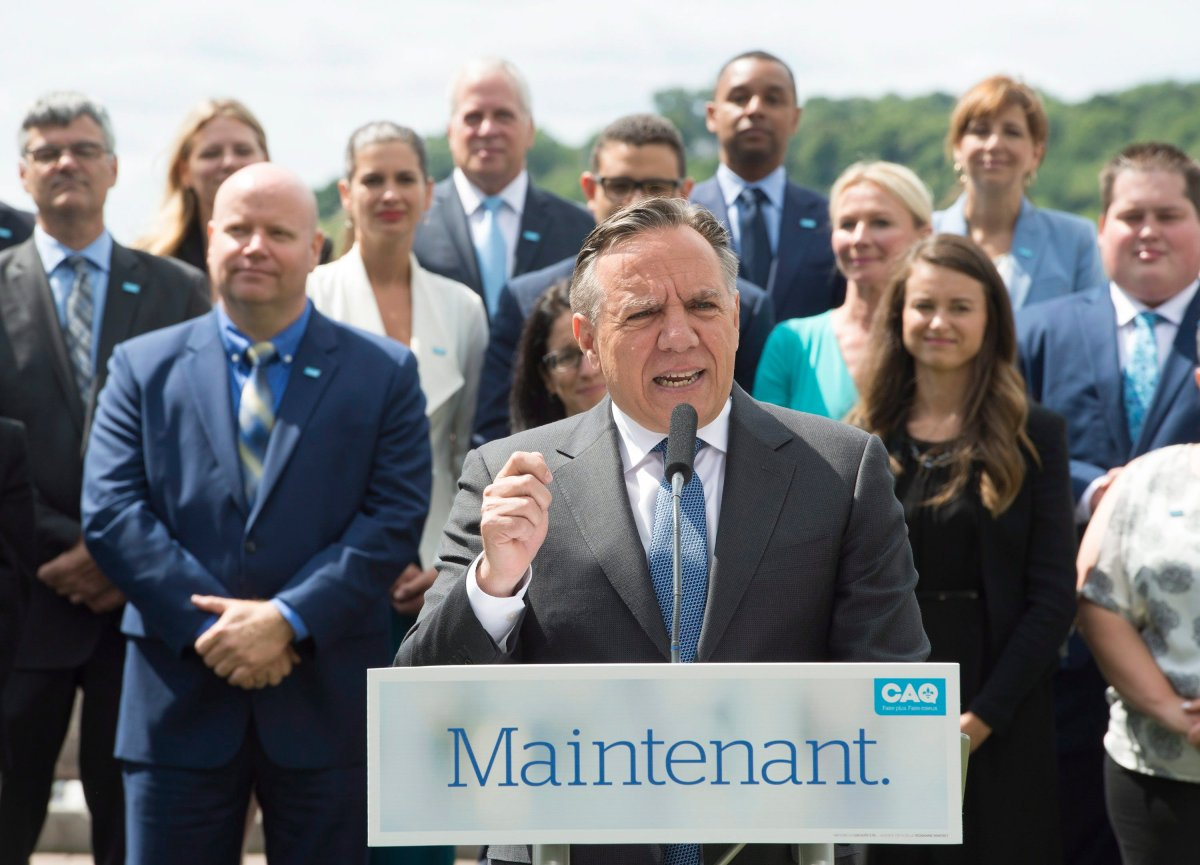 Coalition Avenir Quebec Leader Francois Legault speaks to reporters at a news conference to launch his election campaign, Thursday, August 23, 2018, in Quebec City.