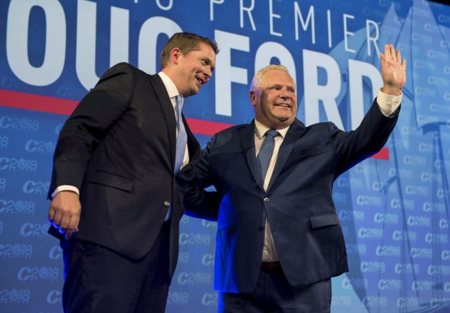 Ontario Premier Doug Ford, right, and Conservative leader Andrew Scheer in 2018,.