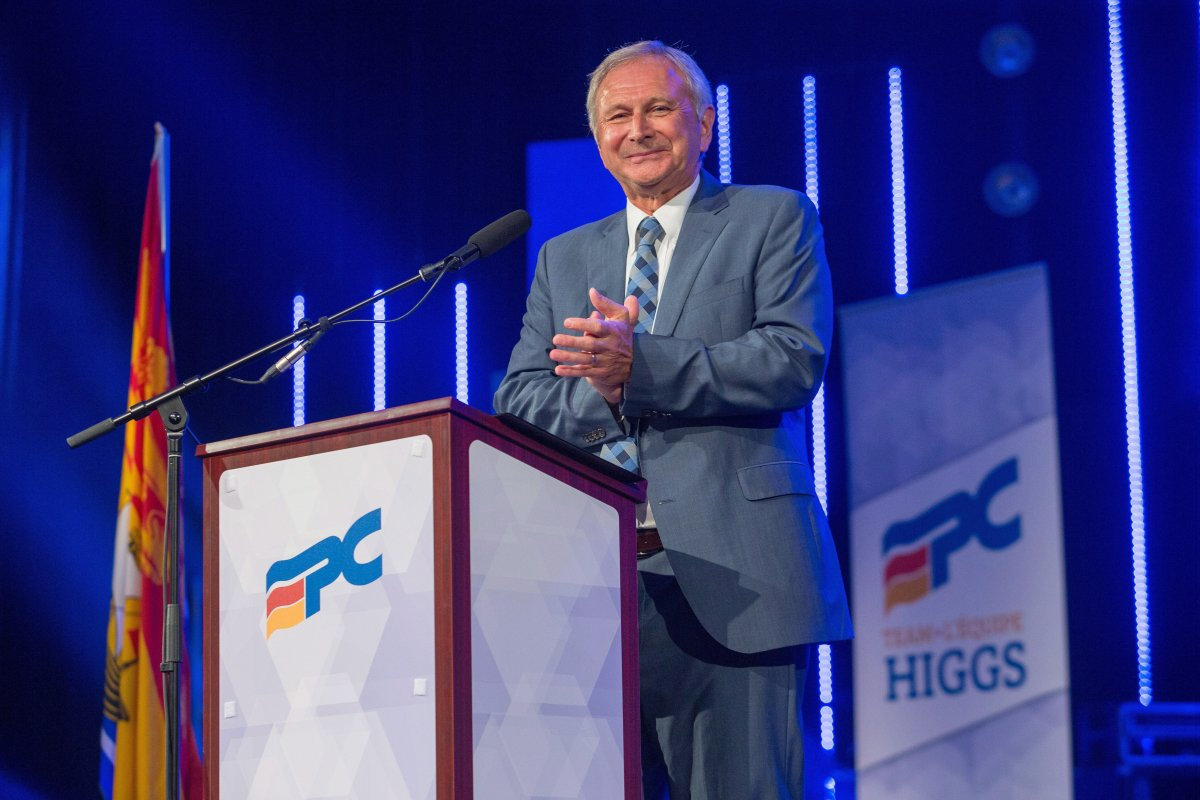 New Brunswick Progressive Conservative Leader Blaine Higgs speaks at his official nomination in Quispamsis, N.B., on Monday, Aug. 27, 2018.