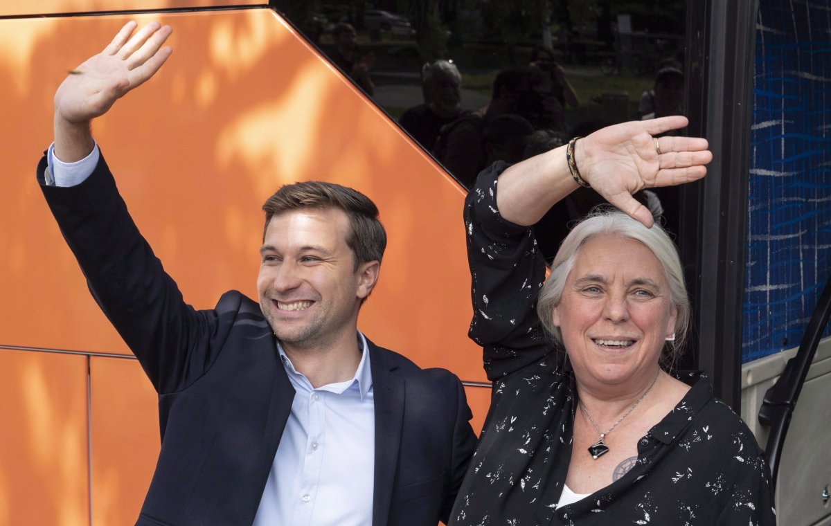 Québec Solidaire co-spokesperson Gabriel Nadeau-Dubois and Manon Massé wave to supporters as they arrive to launch their campaign in Montreal. The party has found its support in the same urban ridings where the Parti Quebecois started in the 1970s, among young and educated francophones who want to transform Quebec society.