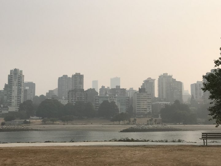 Wildfire smoke impacts the Vancouver skyline in August 2018. A new report from Metro Vancouver says air quality is still expected to improve by 2035.