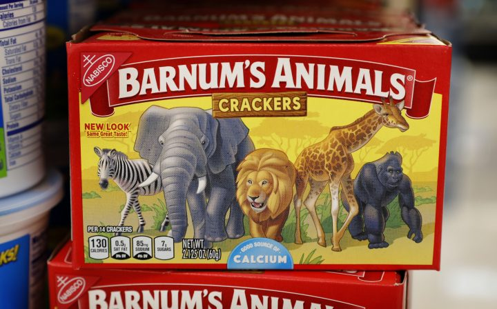 This Monday, Aug. 20, 2018, photo shows a box of Nabisco Barnum's Animals crackers on the shelf of a local grocery store in Des Moines, Iowa.