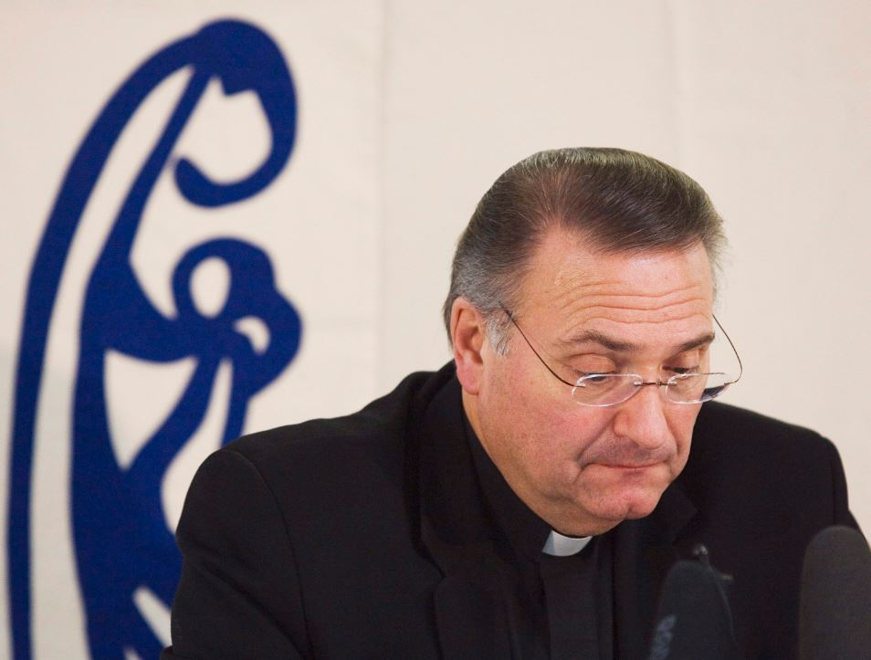 Archbishop Anthony Mancini fields questions regarding Bishop Raymond Lahey at a news conference in Sydney, N.S. on Thursday, Oct. 1, 2009.