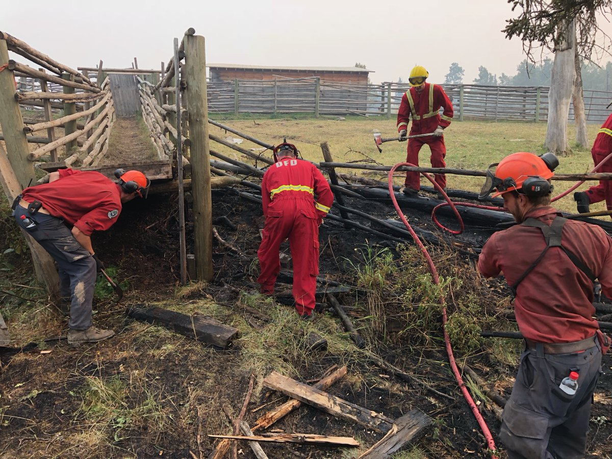 BC Wildfire Service firefighters and independent local crews work together in this undated photo.
