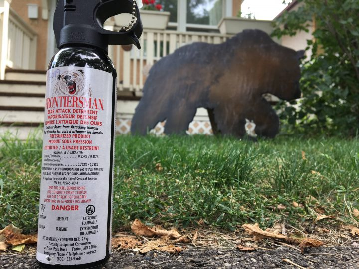 A canister of bear spray is pictured.