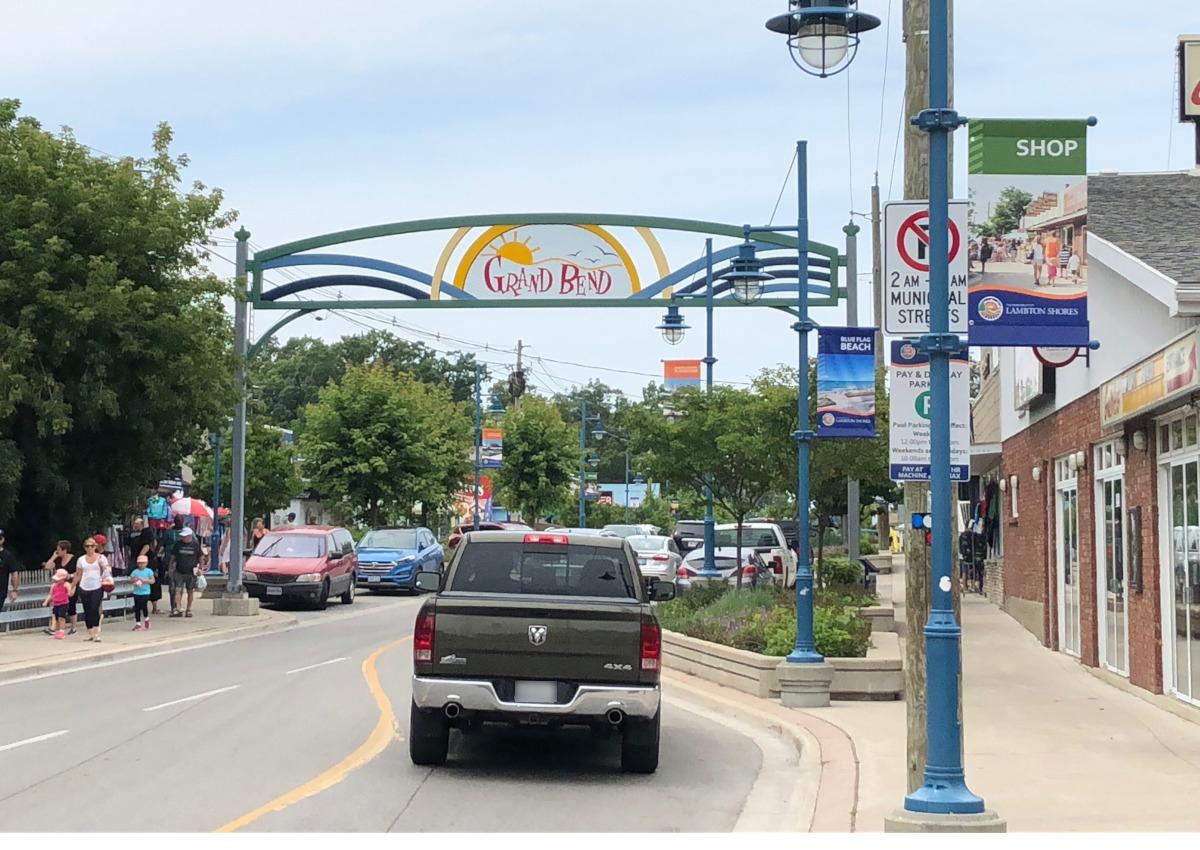 You will pass through the a colourful strip to reach the main beach in Grand Bend.
