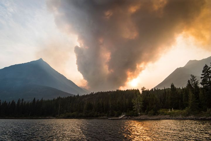 A photo of the smoke from a wildfire threatening Waterton Lakes National Park. Aug. 23, 2018.