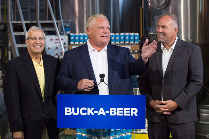 Ontario Premier Doug Ford, centre, Vic Fedeli, left, and Todd Smith announce the buck-a-beer plan at Barley Days brewery in Picton, Ont. on Tuesday, Aug. 7, 2018.