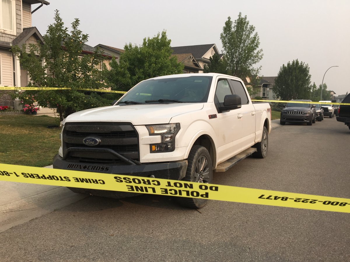 Calgary police located a truck believed to be involved in a hit and run involving a police officer, Saturday, Aug. 18, 2018.