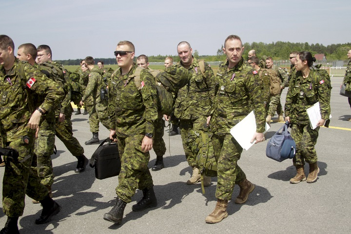 Canadian soldiers arrive at the Riga International Airport, in Riga, Latvia 10 June 2017. Canadian troops are taking part in wargames in Latvia intent on preparing for an invasion of the country.