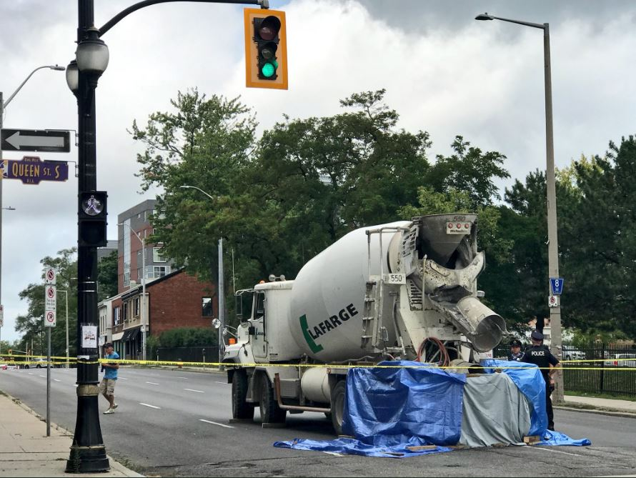 The scene of a fatal collision at King and Queen Streets in Hamilton on Aug. 17.