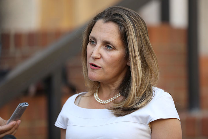 Foreign Minister Chrystia Freeland speaks to journalists outside the U.S. Trade Representative's office in Washington, August 28, 2018.
