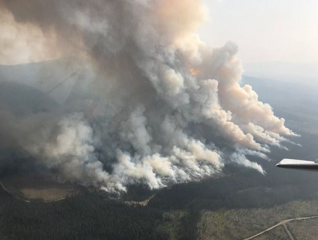 Fire burning near Okanagan Connector, Highway 97C Aug 9, 2018.