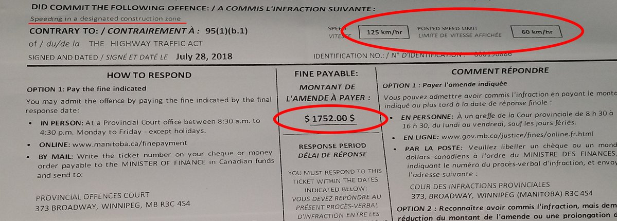 A driver was slapped with a $1752 ticket for speeding in a construction zone.