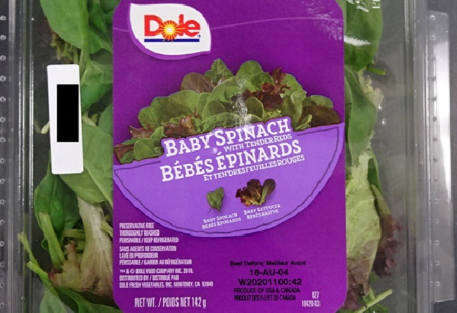 Dole brand Baby Spinach with Tender Reds has been recalled due to listeria risk.