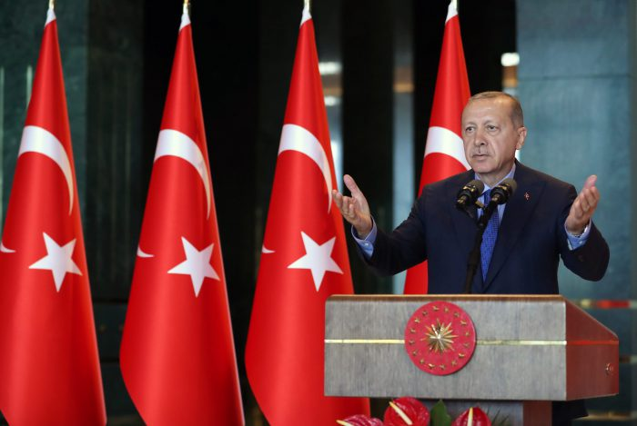 FILE - Turkish President Recep Tayyip Erdogan delivers a speech during Turkish ambassadors' conference at Presidential Palace in Ankara, Turkey, on Aug. 13, 2018.