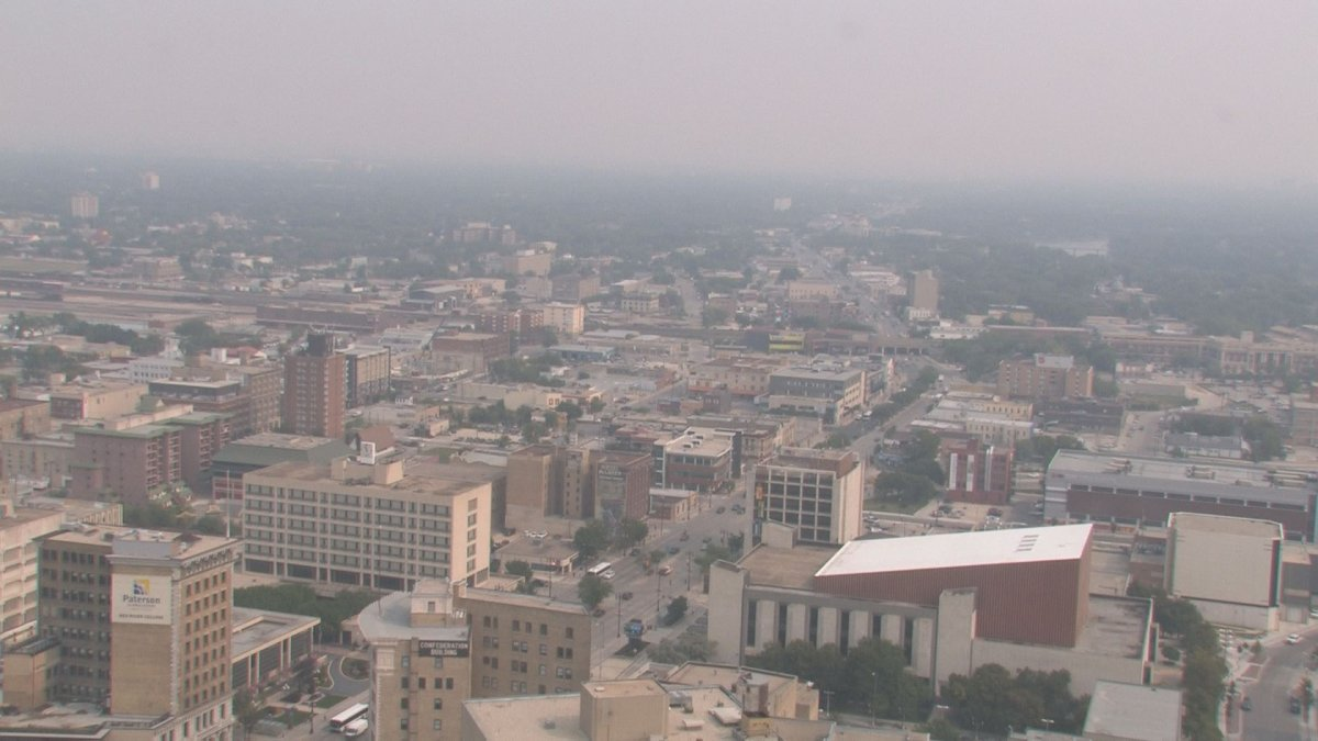 The haze over Winnipeg will stick around, likely through the weekend.