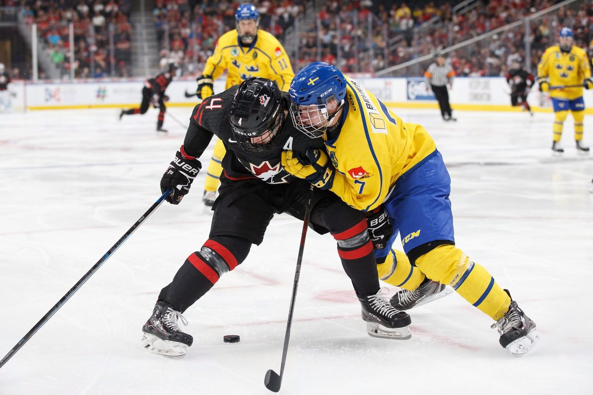 Vancouver Giants defenceman Bowen Byram was named to Team Canada's World Junior Hockey Championship squad for a second straight year on Friday. Here, he's seen battling against Sweden during Hlinka Gretzky Cup action in August 2018. Canada won 4-3.