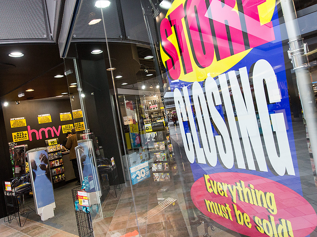 An HMV music store in the Cataraqui Town Centre in Kingston, Ont., on Jan. 31, 2017.
