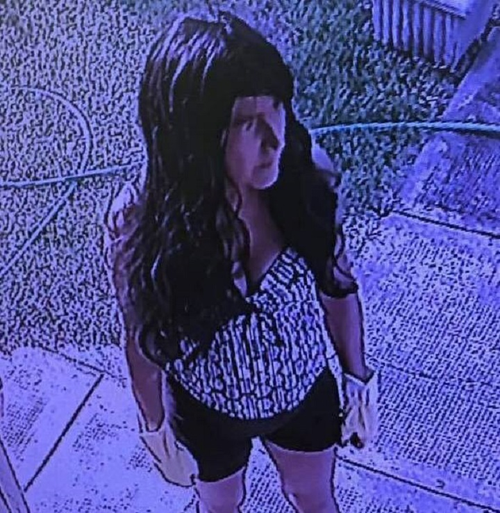 A still photo from surveillance video showing Sharon Forner standing at the doorstep of the home in Osoyoos, B.C., before her foiled invasion attempt last August.