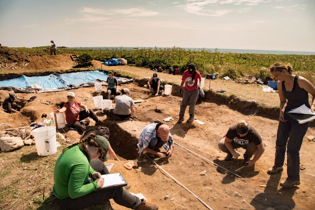 Students from across North America work at a burial site at Rochefort Point at the Fortress of Louisbourg, N.S., in this undated handout photo.
